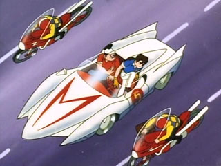 Speed Racer jumps from the Mach 5 to recover stolen plans