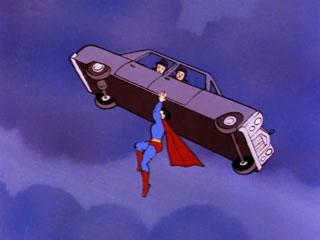 Superman apprehends a car load of goons