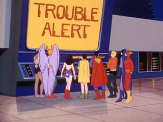 The Super Friends receive a notice from The Trouble Alert